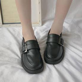 ローファーシューズ レディース 可愛い ローヒール 厚底 韓国風 履きやすい 疲れない シンプル (ブラック)