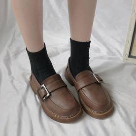 ローファーシューズ レディース 可愛い ローヒール 厚底 韓国風 履きやすい 疲れない シンプル (ブラウン)