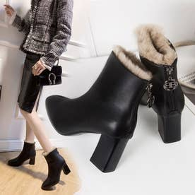 裏起毛 ショートブーツ レディース 歩きやすい チャンキーヒール ブーツ ブーティ ハイヒール (ブラック2(履き口にファーあり))