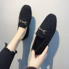 ファーパンプス レディース シューズ 秋冬 韓国 靴 走れるパンプス 人気 フラットパンプス ぺたんこ (ブラック)