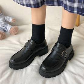 ローファー レディース 靴 シューズ レザー調 合皮 厚底 履きやすい 韓国風 人気 クラシック 可愛 (ブラック)