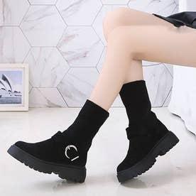 ソックス風 ショートブーツ レディース 2wayニットブーツ バックルベルト 厚底ブーツ  歩きやすい ハイカット ブーツ おしゃれ (ブラック)