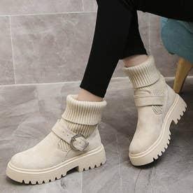 ソックス風 ショートブーツ レディース 2wayニットブーツ バックルベルト 厚底ブーツ  歩きやすい ハイカット ブーツ おしゃれ (ベージュ)