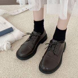 ドレスシューズ レースアップ レディース 靴 ローヒール レザー調 履きやすい カジュアル シンプル (ブラウン)