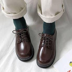 ドレスシューズ レディース 靴 シューズ レースアップ レザー調 厚底 シンプル 歩きやすい (ブラウン)