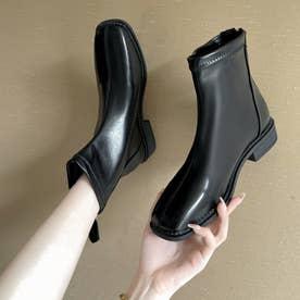 ショートブーツ フルジップブーツ 美脚 (ブラック)