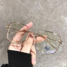 PCメガネ レディース メンズ 眼鏡 ブルーライトカット メガネ 超軽量 輻射防止 おしゃれ メガネ ミラー小物 PCグラス 度なし (シャンパン色)