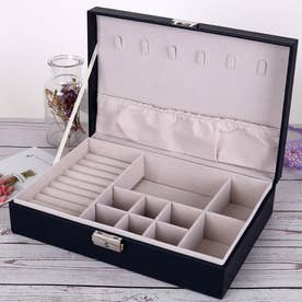アクセサリーケース ジュエリーボックス 大容量 収納ボックス フタ付き おしゃれ ジュエリーボックス 携帯 (ブラック*1)