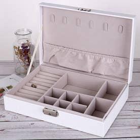 アクセサリーケース ジュエリーボックス 大容量 収納ボックス フタ付き おしゃれ ジュエリーボックス 携帯 (ホワイト*1)