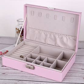 アクセサリーケース ジュエリーボックス 大容量 収納ボックス フタ付き おしゃれ ジュエリーボックス 携帯 (ピンク*1)