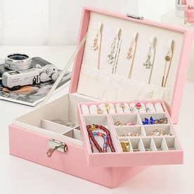 アクセサリーケース ジュエリーボックス 大容量 収納ボックス フタ付き おしゃれ ジュエリーボックス 携帯 (ピンク*2)