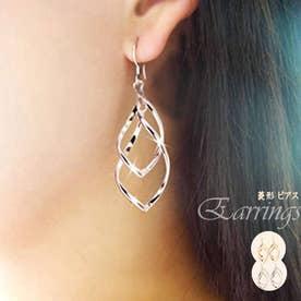 菱形 ピアス レディース 多層 イアリング ぶらさがりアクセサリー 耳飾り 2連ピアス【両耳】 (ゴールド)