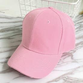 キャップ レディース メンズ ローキャップ-ツバあり カーブキャップ 帽子 スポーツ 無地 CAP おしゃれ 男女兼用 野球帽 (ピンク)