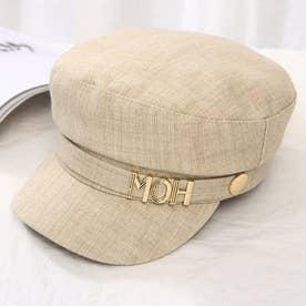 マリンキャップ レディース キャスケット レトロ 日よけ帽子 つば付き 夏帽子 UVカット キャップ 紫外線対策 (ベージュ)