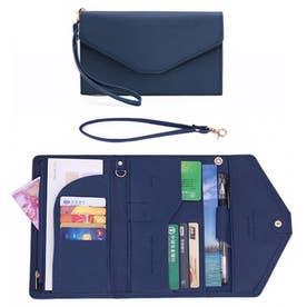 パスポート チケットケース 財布 薄型 (ネイビー)