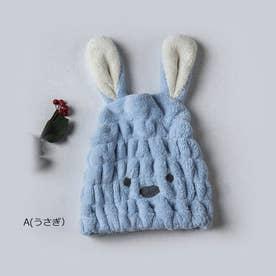 ヘアキャップ レディース 子供 帽子 (A(うさぎ)*ブルー)