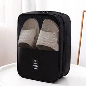 シューズポーチ 持ち運び トラベルシューズケース 持ち手付き くつ入れ シンプル 携帯用便利ケース 大容量 旅行用シューズケース (ブラック)