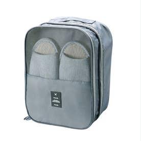 シューズポーチ 持ち運び トラベルシューズケース 持ち手付き くつ入れ シンプル 携帯用便利ケース 大容量 旅行用シューズケース (グレー)
