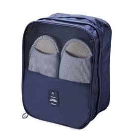 シューズポーチ 持ち運び トラベルシューズケース 持ち手付き くつ入れ シンプル 携帯用便利ケース 大容量 旅行用シューズケース (ネイビー)