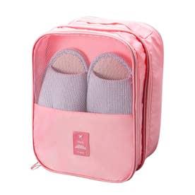 シューズポーチ 持ち運び トラベルシューズケース 持ち手付き くつ入れ シンプル 携帯用便利ケース 大容量 旅行用シューズケース (ピンク)