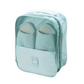 シューズポーチ 持ち運び トラベルシューズケース 持ち手付き くつ入れ シンプル 携帯用便利ケース 大容量 旅行用シューズケース (ブルー)
