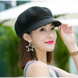 ペーパーキャスケット 麦わら帽子 キャップ レディース 帽子 uv ストローハット 軽量 日よけ 紫外線対策 涼しい 帽子 (ブラック)