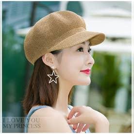 ペーパーキャスケット 麦わら帽子 キャップ レディース 帽子 uv ストローハット 軽量 日よけ 紫外線対策 涼しい 帽子 (キャメル)