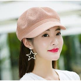 ペーパーキャスケット 麦わら帽子 キャップ レディース 帽子 uv ストローハット 軽量 日よけ 紫外線対策 涼しい 帽子 (ピンク)