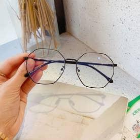 ブルーライトカット メガネ レディース 伊達メガネ レトロPC眼鏡 多角形フレーム おしゃれ めがね 変形レンズ 軽量 ファッショングラス (ブラック)