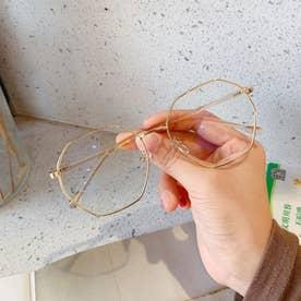 ブルーライトカット メガネ レディース 伊達メガネ レトロPC眼鏡 多角形フレーム おしゃれ めがね 変形レンズ 軽量 ファッショングラス (ゴールド)