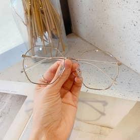 ブルーライトカット メガネ レディース 伊達メガネ レトロPC眼鏡 多角形フレーム おしゃれ めがね 変形レンズ 軽量 ファッショングラス (シルバー)