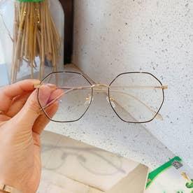 ブルーライトカット メガネ レディース 伊達メガネ レトロPC眼鏡 多角形フレーム おしゃれ めがね 変形レンズ 軽量 ファッショングラス (ブラック*ゴー