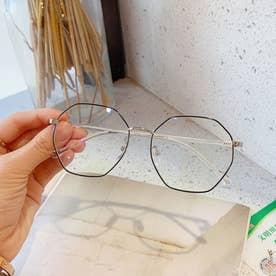 ブルーライトカット メガネ レディース 伊達メガネ レトロPC眼鏡 多角形フレーム おしゃれ めがね 変形レンズ 軽量 ファッショングラス (ブラック*シル