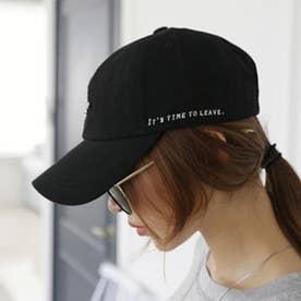 レディース メンズ 帽子 キャップ カーブキャップ ロゴ 刺しゅう おしゃれ 帽子 かっこいい CAP 韓国ファッション (ブラック)
