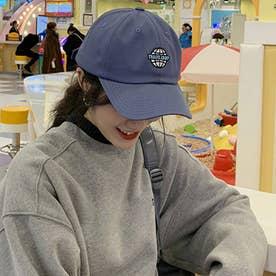 レディース メンズ 帽子 キャップ カーブキャップ ロゴ 刺しゅう おしゃれ 帽子 かっこいい CAP 韓国ファッション (ライトネイビー)