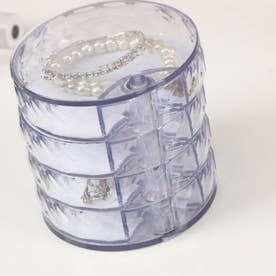 収納トレイ 4段式 回転収納ボックス アクセサリー 小物入れ ジュエリーボックス ホワイト おしゃれ 人気 プレゼント シンプル (クリア)