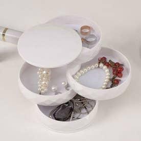 収納トレイ 4段式 回転収納ボックス アクセサリー 小物入れ ジュエリーボックス ホワイト おしゃれ 人気 プレゼント シンプル (ホワイト)