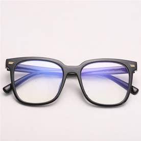 ブルーライトカットメガネ レディース 黒縁 パソコンメガネ 伊達メガネ ビックフレームおしゃれ PCめがね ユニセックス 軽い (ブラック)