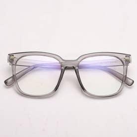ブルーライトカットメガネ レディース 黒縁 パソコンメガネ 伊達メガネ ビックフレームおしゃれ PCめがね ユニセックス 軽い (グレー)