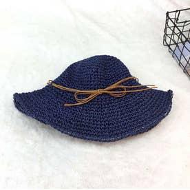 麦わら帽子 レディース 折たたみ つば広 ハット uvカット おしゃれ 細リボン 帽子 (ネイビー)