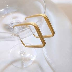 幾何学模様ピアス レディース おしゃれ スクエアピアス フープピアス シンプル サークルピアス 結婚式 アクセサリー ゴールド (B(スクエア型))