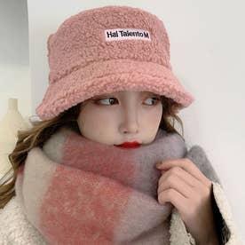 バケットハット レディース 刺しゅう 秋冬 ボアハット 暖かい トレンド ボア帽子 防寒-ぼうし (ピンク)