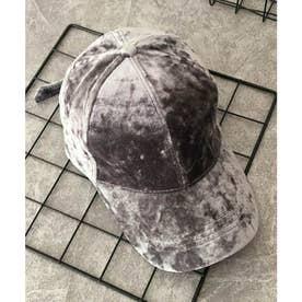 ベロアキャップ レディース 秋冬 帽子 無地 軽量 CAP つば広 小物 カーブキャップ (グレー)