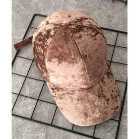 ベロアキャップ レディース 秋冬 帽子 無地 軽量 CAP つば広 小物 カーブキャップ (ブラウン)