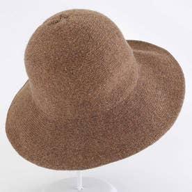 ニット帽子 レディース 折りたたみ つば広帽子 小顔効果 無地 防寒 ぼうし 秋冬 (キャメル)