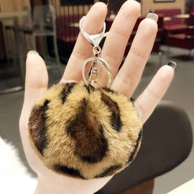 レオパード柄 バッグチャーム 大人 かわいい ファーチャーム キーホルダー おしゃれ ハート (キャメル(ボール型))