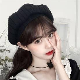 ベレー帽 レディース おしゃれ 帽子 小顔効果 シンプル ハット帽子 大人 サイズ調整 かぼちゃベレー カジュアル キャップ (ブラック)