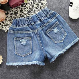 キッズ デニムパンツ 可愛い 新作 韓国子供 女の子 ダメージ ショートパンツ ファッション ジュニア 男の子 ボトムス (デニムブルー)