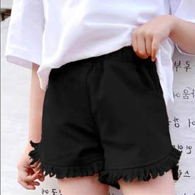 女の子 デニム ショートパンツ 韓国 子供 (ブラック)
