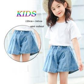 子ども服 キッズ デニムショートパンツ 子供服 女の子 ジュニアサイズ ボトムス 小学生コーデ KIDS 韓国服 ファッション (ライトブルー)
